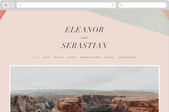 """Eleanor"" - Wedding Websites in Rose by Creative Parasol."