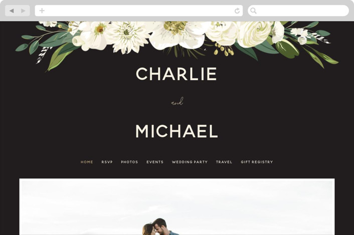 """""""Garden Blooms"""" - Wedding Websites in Ivory by Susan Moyal."""