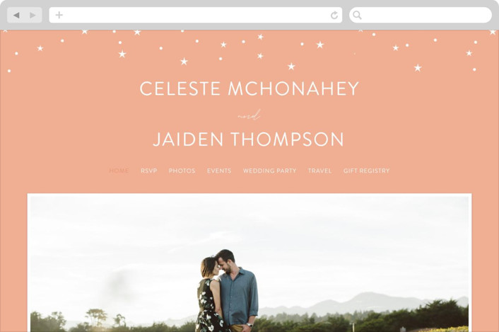 This is a pink, rosegold Wedding Websites by Cass Loh called star stream with printing on Digital Paper in Digital Invitation format. This invitation features stars and gold spatter