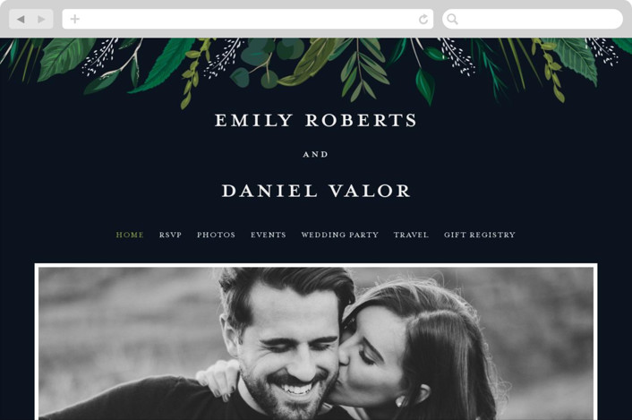 This is a blue wedding website by Susan Moyal called Emerald Leaves printing on digital paper.