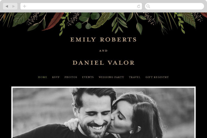 This is a black wedding website by Susan Moyal called Emerald Leaves printing on digital paper.