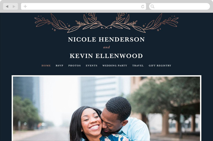 """Entwined"" - Wedding Websites in Navy by Kristen Smith."