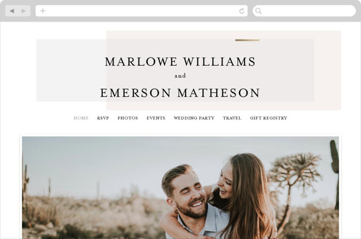This is a beige wedding website by Kelly Schmidt called Clean and Modern printing on digital paper.