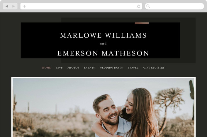 This is a black wedding website by Kelly Schmidt called Clean and Modern printing on digital paper.