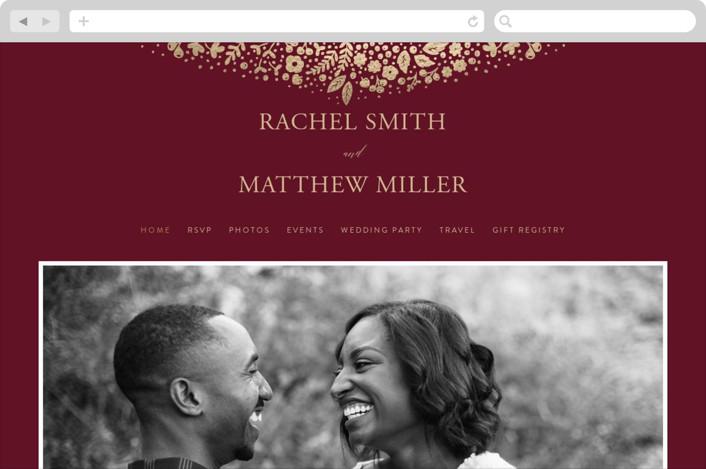 """Millefleur"" - Wedding Websites in Burgundy by My Splendid Summer."