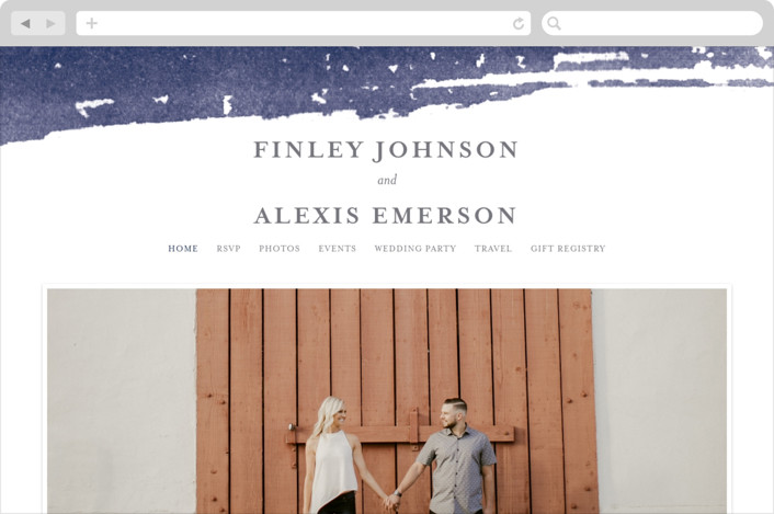 This is a blue wedding website by Four Wet Feet Studio called Love printing on digital paper.