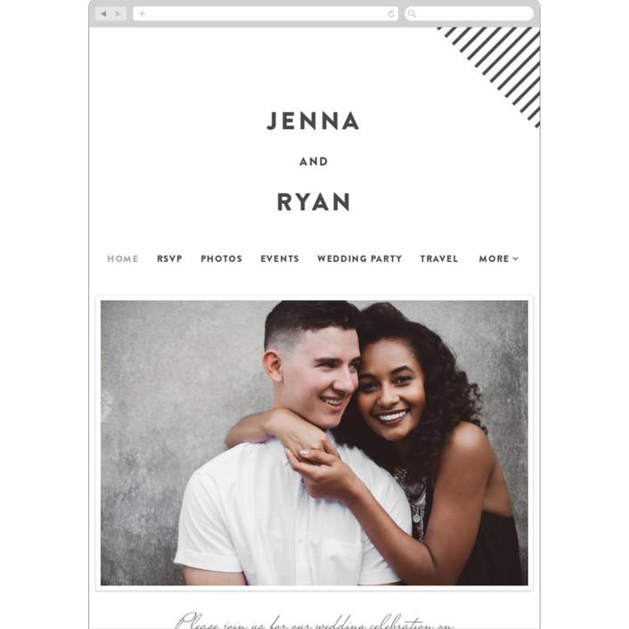 """Lined"" - Modern Wedding Websites in Soft Black by Christie Garcia."