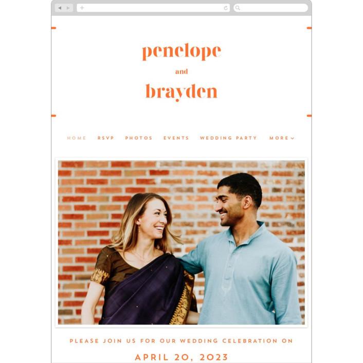 """""""Bolder"""" - Wedding Websites in Bright Orange by Erin Deegan."""