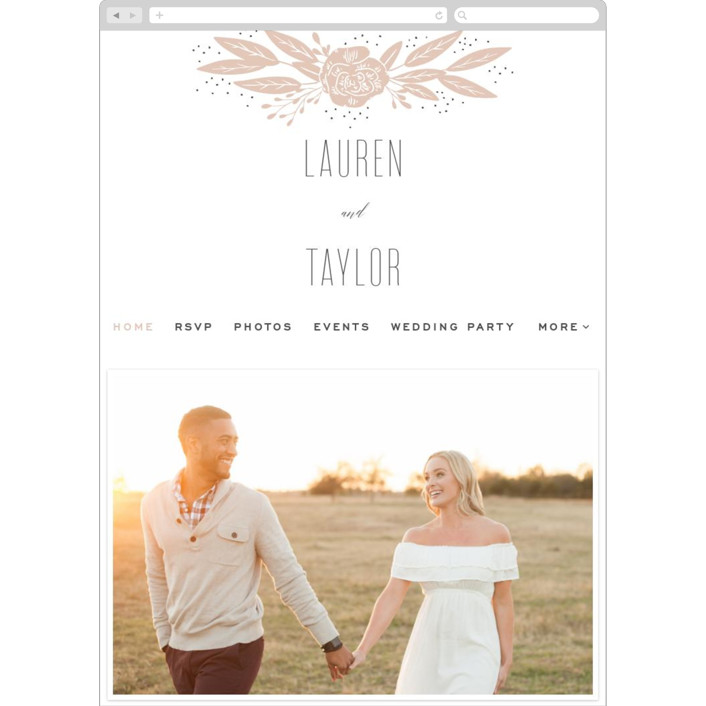 """Rose"" - Wedding Websites in Latte by Leah Bisch."