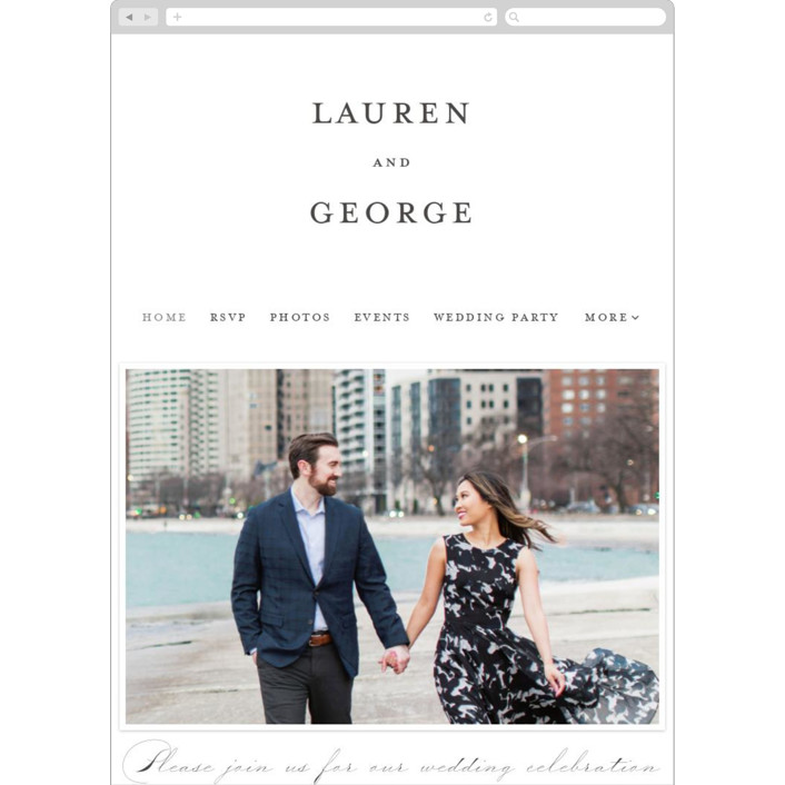 """Flutter"" - Wedding Websites in Soft Black by Kimberly FitzSimons."