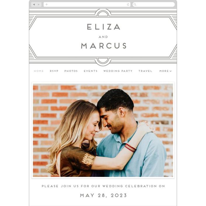 """Deco Impression"" - Vintage Wedding Websites in Graphite by Genna Blackburn."