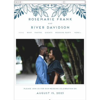 This is a blue wedding website by Genna Blackburn called Belle Fleur printing on digital paper.