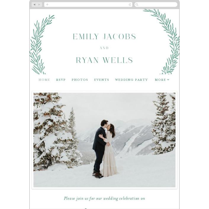 """Organic Laurels"" - Wedding Websites in Moss by Itsy Belle Studio."