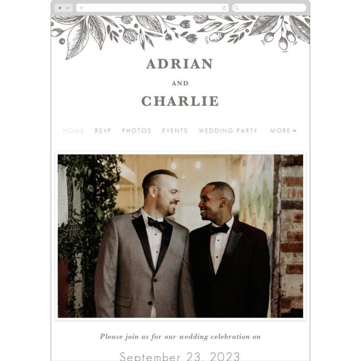 """Garden Flowers"" - Wedding Websites in Graphite by Yuliya Evseeva."