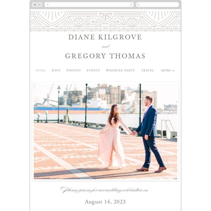 """Ornamental"" - Wedding Websites in Dove Grey by Kristen Smith."