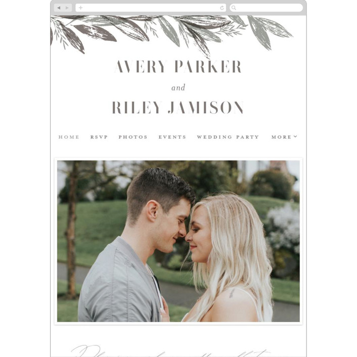 """Woodland Wreath"" - Wedding Websites in Ash by Everett Paper Goods."