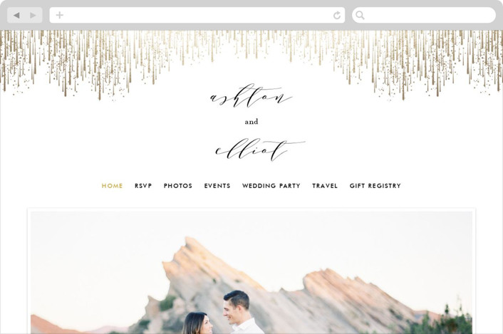 """""""Sparkle + Shine"""" - Wedding Websites in Gold by Kristie Kern."""