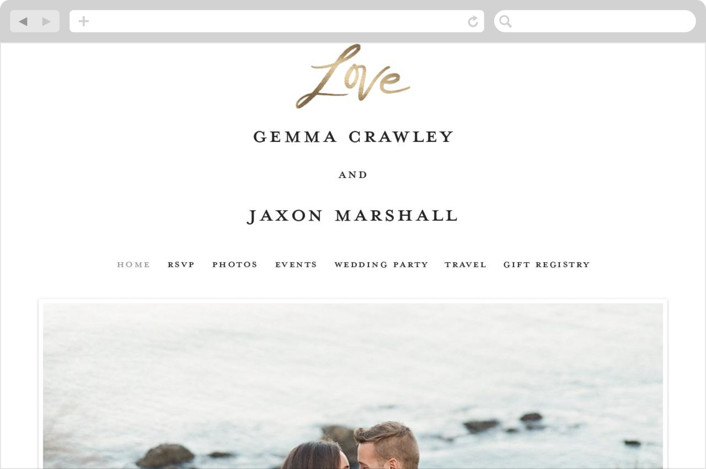 """Lovely Script"" - Wedding Websites in Cotton by Stacey Meacham."