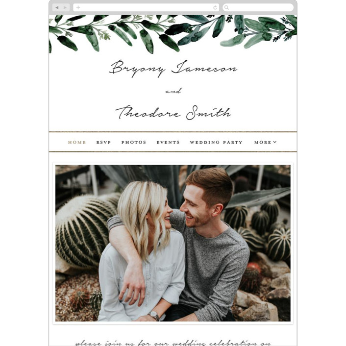 """Gilded Eucalyptus"" - Wedding Websites in Snow by Lissabeth Anglin."