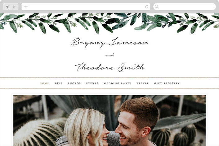 This is a white wedding website by Lissabeth Anglin called Gilded Eucalyptus printing on digital paper.