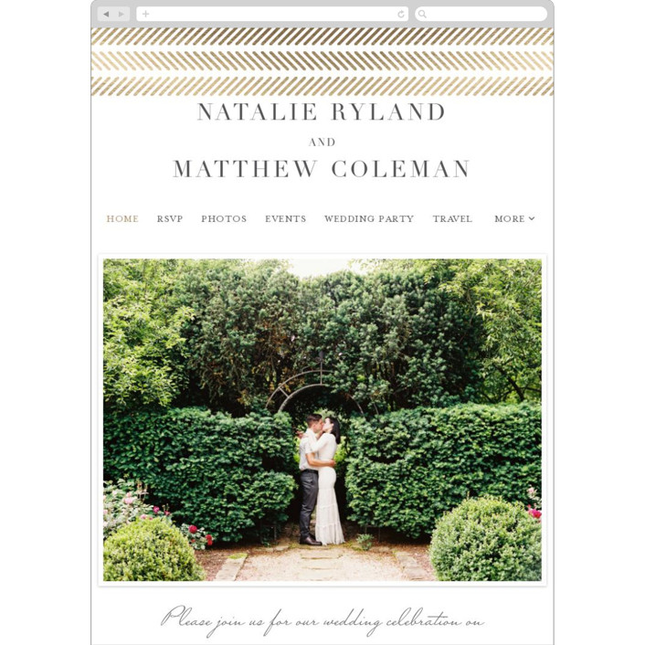 """elegant herringbone"" - Wedding Websites in Gravel by Paper Dahlia."