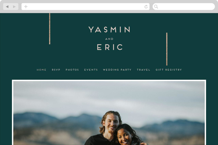 This is a green wedding website by Bonjour Berry called Our Love Story printing on digital paper.