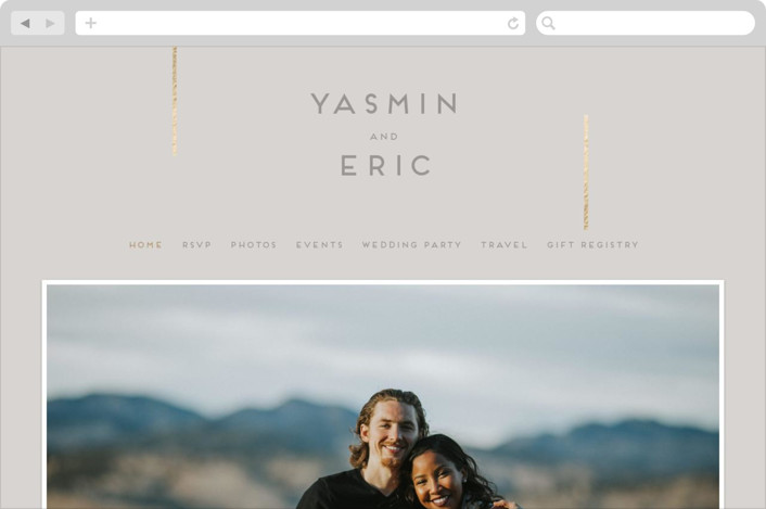 This is a grey wedding website by Bonjour Berry called Our Love Story printing on digital paper.