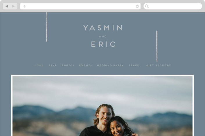 This is a blue wedding website by Bonjour Berry called Our Love Story printing on digital paper.