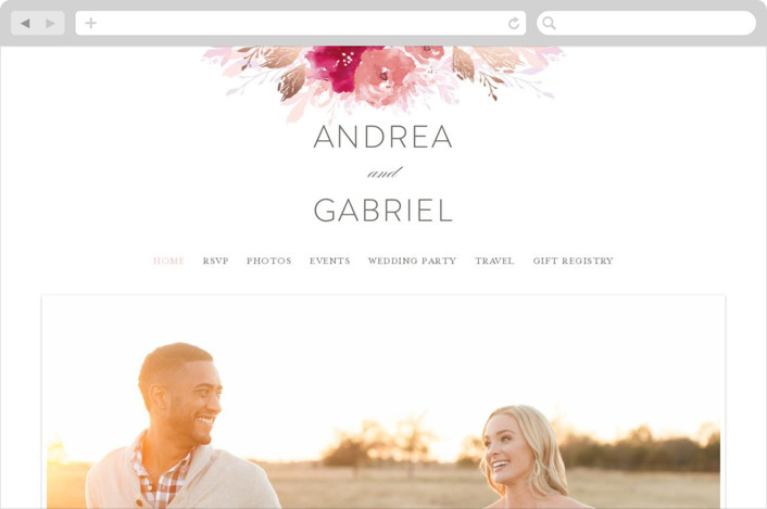 This is a pink wedding website by Karidy Walker called painted bouquet printing on digital paper.
