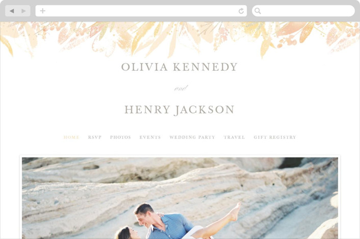 This is a orange wedding website by Creo Study called Blooming border printing on digital paper.