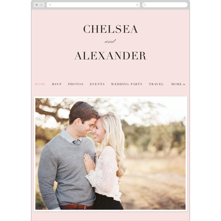 """Enchanted Evening"" - Wedding Websites in Blush by Ashley DeMeyere."