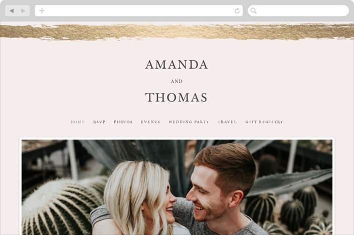 """Brushstroke"" - Wedding Websites in Blush by Tatiana Nogueiras."