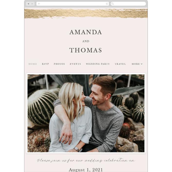 """Brushstroke"" - Wedding Websites in Blush by Tatiana Nogueiras."