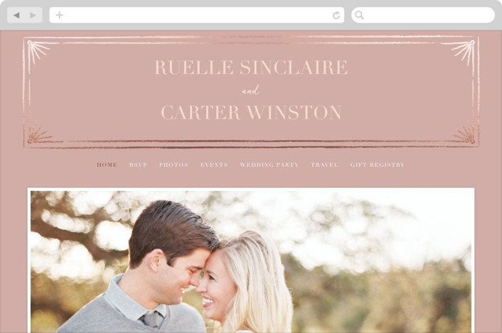 """""""Beaming"""" - Vintage Wedding Websites in Dusty Rose by Stacey Day."""