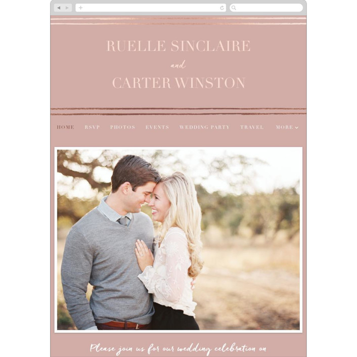 """Beaming"" - Vintage Wedding Websites in Dusty Rose by Stacey Day."