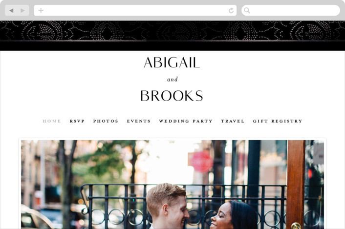This is a black wedding website by Susan Zinader called Nicolette printing on digital paper.