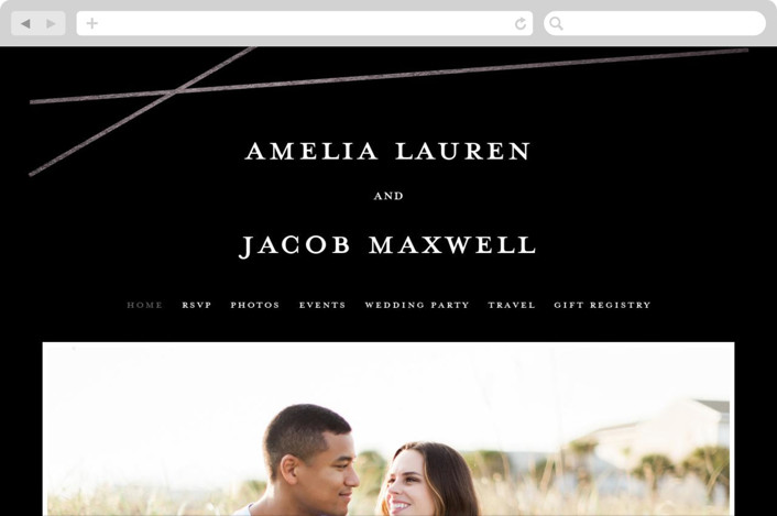 This is a black wedding website by Emily Betts called Minimal Shine printing on digital paper.