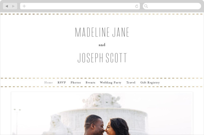 This is a white wedding website by Amy Payne called Golden Ticket printing on digital paper.