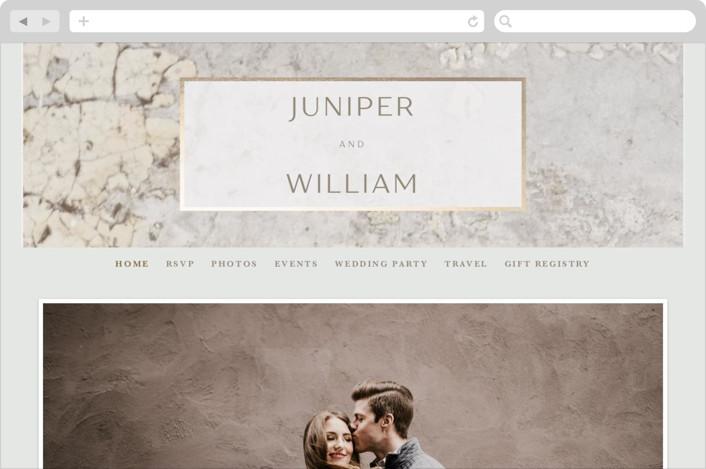 This is a beige wedding website by Basil Design Studio called Juniper printing on digital paper.