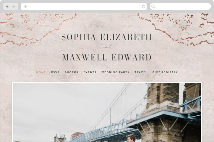 This is a orange wedding website by Basil Design Studio called Sophia printing on digital paper.