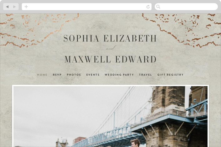 This is a green wedding website by Basil Design Studio called Sophia printing on digital paper.
