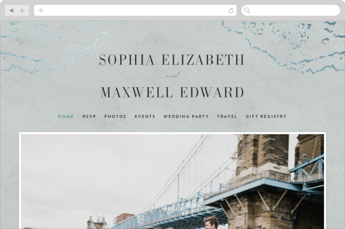 This is a blue wedding website by Basil Design Studio called Sophia printing on digital paper.