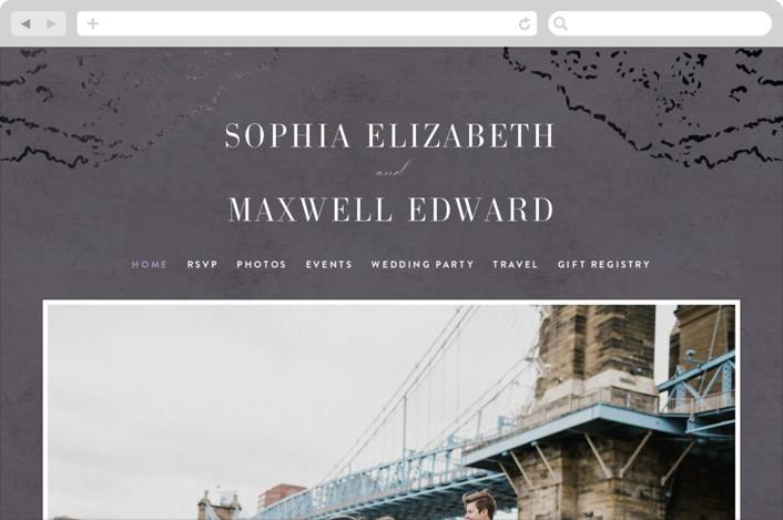This is a purple wedding website by Basil Design Studio called Sophia printing on digital paper.