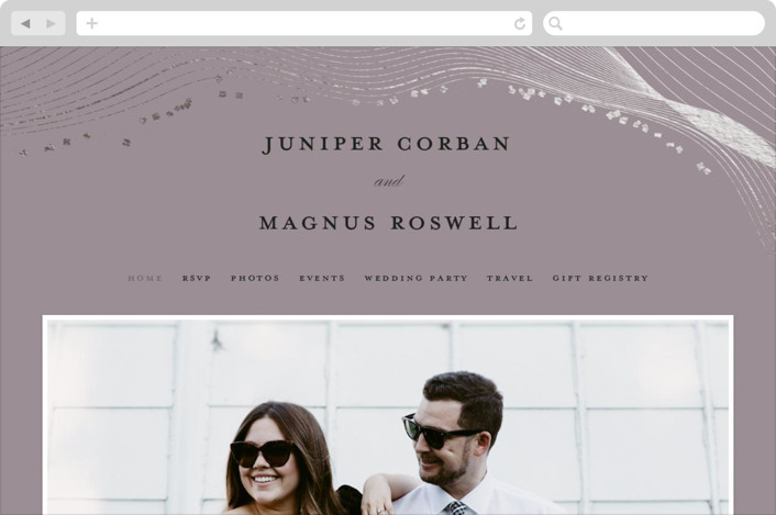 This is a purple wedding website by Bonjour Berry called Ethereal Romance printing on digital paper.