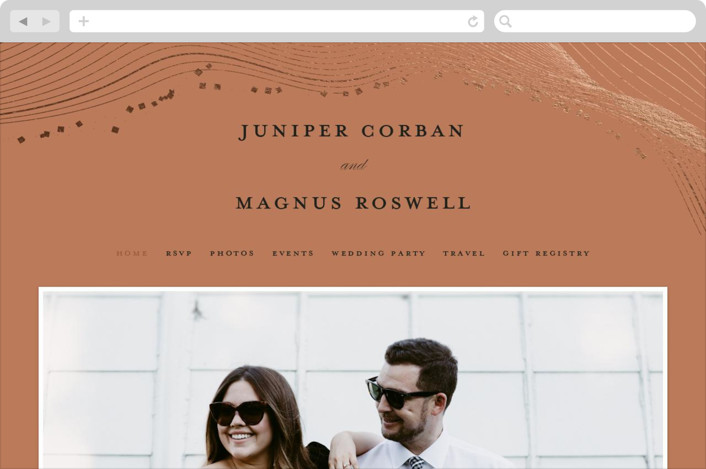 This is a orange wedding website by Bonjour Berry called Ethereal Romance printing on digital paper.