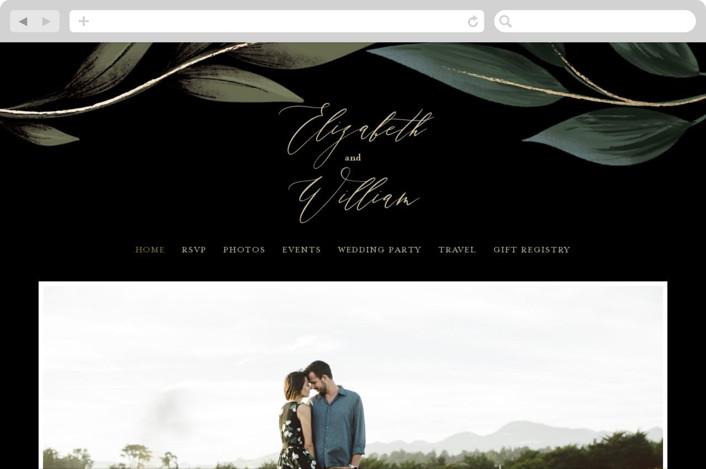 """Cascading Vine"" - Rustic Wedding Websites in Midnight by Susan Moyal."