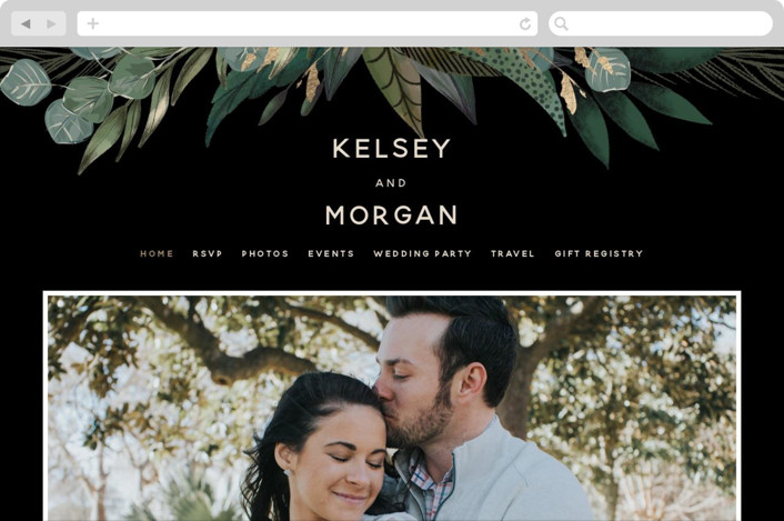 This is a black wedding website by Susan Moyal called Shades of Green printing on digital paper.