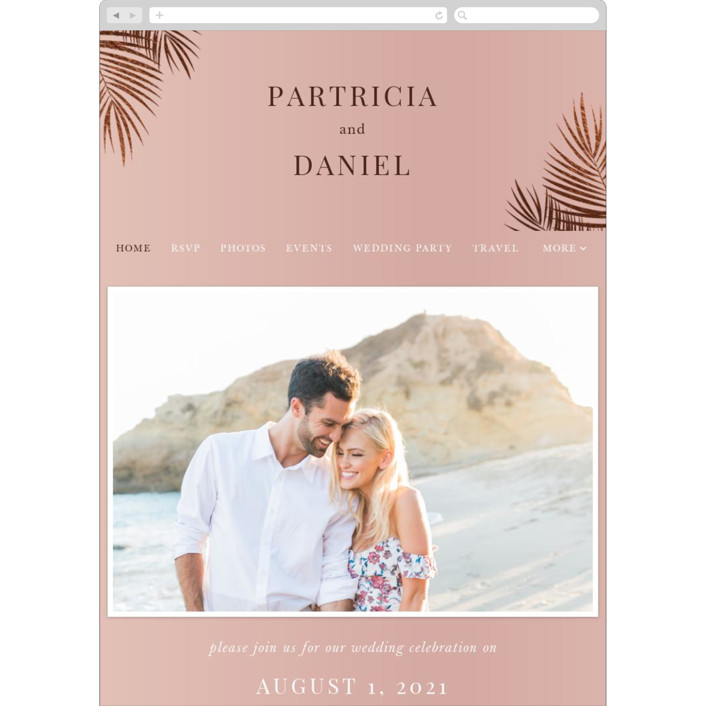 """Sunset by the Sea"" - Wedding Websites in Coral by lulu and isabelle."