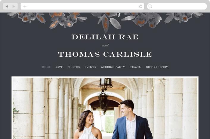 """Carolina"" - Rustic Wedding Websites in Dusty Blue by Meagan Christensen."