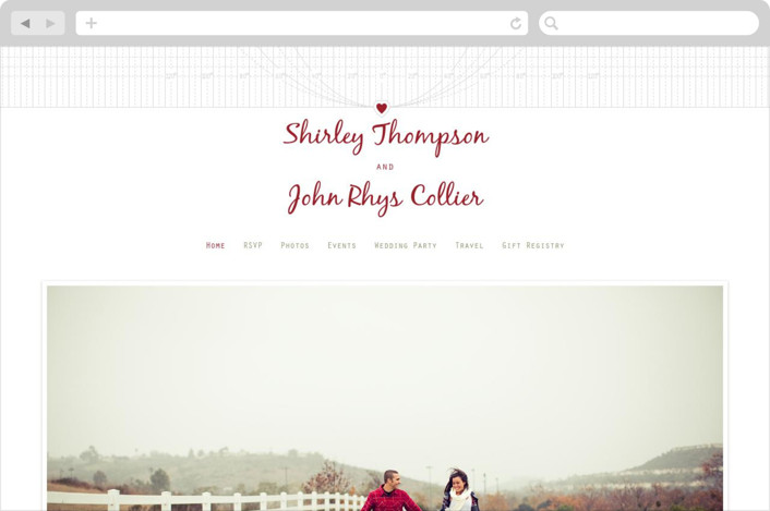 """A Faraway Destination"" - Wedding Websites in Cranberry Red by bumble ink."